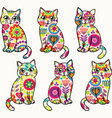bright colorful funny cats seamless vector image