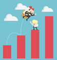 businessman jump flying of growth chart to success vector image