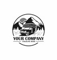 campervan travel with mountain background logo vector image