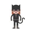 cat girl children in halloween costume flat design vector image vector image