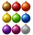 christmas balls in nine colors vector image