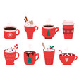 christmas holiday coffee mug cocoa with vector image vector image