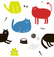 colorful seamless pattern with cats vector image vector image
