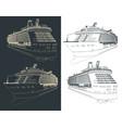 cruise ship blueprints vector image vector image
