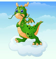 cute cartoon green dragon posing on the cloud vector image