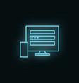 devices monitor mobile neon icon web development vector image vector image