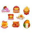 fast food hamburger pizza taco hot dog icons vector image vector image