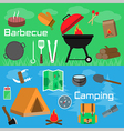 Flat style barbecue and camping banners vector image vector image