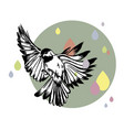 flying bird and colorfull rain vector image