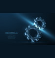 gears abstract wireframe two gear 3d vector image vector image