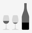 glasses and bottle vector image vector image