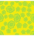 Green and yellow seamless flower pattern vector image