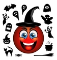 Halloween icons Smiling red emoticon in a vector image
