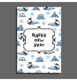 Happy new year card with cute cartoon seal vector image vector image