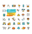 holidays and events set line icons vector image vector image