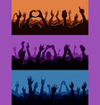 human fan hands silhouette on music concert vector image vector image