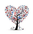 i love france art tree sketch for your design vector image vector image