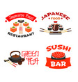 isolated icons for sushi bar or restaurant vector image vector image