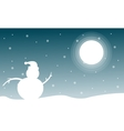 Landscape of Christmas with snowman at night vector image