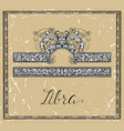 libra or scales zodiac sign on frame on texture vector image vector image