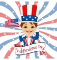 little boy celebrating independence day vector image