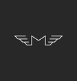 M wings letter logo monogram black and white vector image vector image