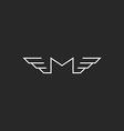 m wings letter logo monogram black and white vector image