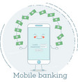 mobile banking concept in line art style vector image vector image