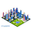 modern city isometric composition vector image