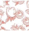 Monochrome seamless pattern of tomatoes vector image