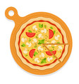 mushroom pizza on board with a cut piece flat vector image vector image