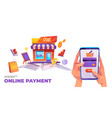online payment banner smartphone credit card vector image vector image