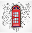 red london telephone booth cute cartoon vector image vector image
