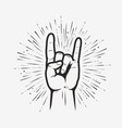 rock on gesture symbol heavy metal hand gesture vector image