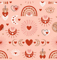 seamless pattern with love bohemian elements vector image vector image
