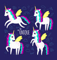 set of beautiful cute unicorns and inscription to vector image vector image