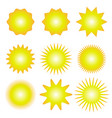 set sun icons with rays on white background sun vector image