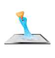 Tablet computer hand holding application vector image