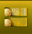 ticket for premier league golf tournament vector image vector image