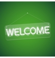 White Glowing Neon Welcome Sign vector image