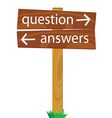 wooden signpost for questions and answers vector image