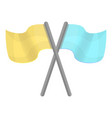 yellow blue crossed flag icon cartoon style vector image