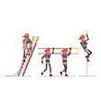 young male firefighter at ladder and pole vector image