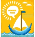 summer time blue boat at blue sea vector image