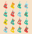 icons set in flat design made of christmas socks vector image
