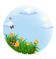A round template with blooming flowers and vector image