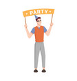 birthday party greeting banner in man hands cone vector image vector image