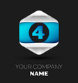 blue number four logo in the silver-blue hexagonal vector image vector image