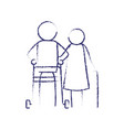 blurred blue contour of pictogram elderly couple vector image