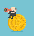 businessman boss sit on coins vector image vector image